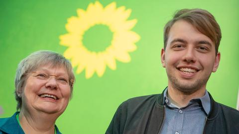 Hessens Grüne-Landesvorsitzende Erfurth und Krämer