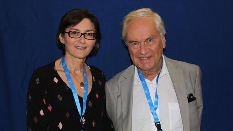 Frido Mann und hr-iNFO-Redakteurin Mariela Milkowa