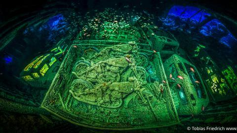 Schiffswrack-Panorama eines britischen Kriegsschiffes