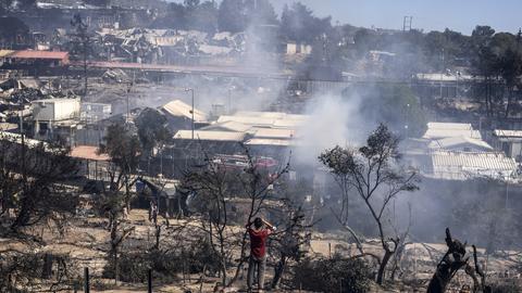 Flüchtlingslager in Moria nach dem Brand