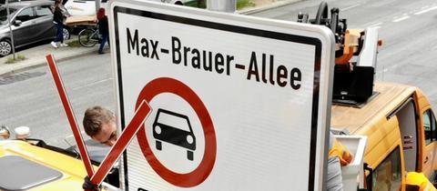Fahrverbotsschild für Dieselfahrzeuge in Hamburg