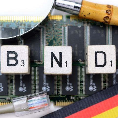 """Würfelbuchstaben bilden den Schriftzug """"BND"""""""