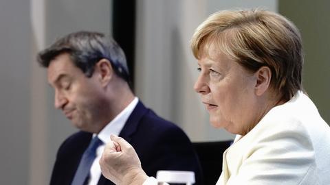 Angela Merkel und Markus Söder bei einer Pressekonferenz