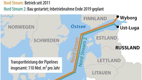 Eine Grafik zeigt, wo Nord Stream und Nord Stream 2 verlaufen.