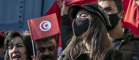 Eine Demonstration in Tunis am 13. Dezember 2020