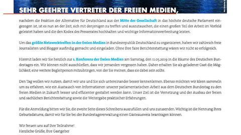 Screenshot des Einladungsschreibens zur AfD-Medienkonferenz
