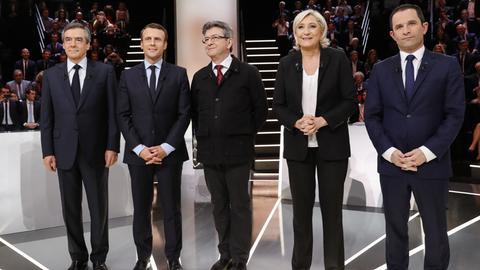 Frankreichs Präsidentschaftskandidaten Fillon, Macron,Mélenchon, Le Pen und Hamon