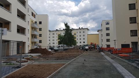 Baustelle in der Knorrstraße im Gallusviertel