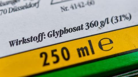Verpackung eines Unkrautvernichtungsmittels, das den Wirkstoff Glyphosat enthält