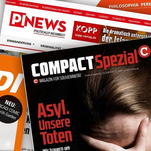 """Collage der Titelseiten der """"freien"""" Medien """"Compact"""", """"Philosophia Perennis"""", """"Arcadi"""" und """"Vereinigung Freier Medien"""""""