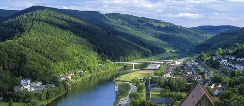 Ein idyllischer Blick auf Hirschhornam Neckar im Odenwald