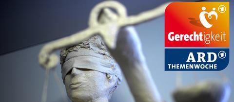 Justitia mit dem Logo der ARD Themenwoche Gerechtigkeit