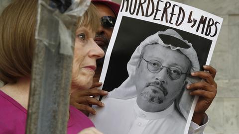 Demonstranten protestieren anlässlich des Verschwindens des saudi-arabischen Journalisten Jamal Khashoggi