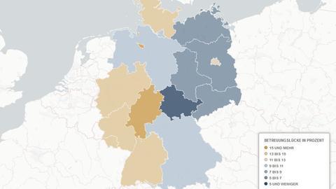 Grafik: Betreuungslücke in Deutschland