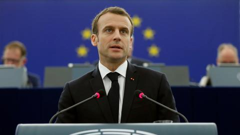 Frankreichs Präsident Emmanuel Macron bei seiner Rede vor dem Europaparlament am 17.4.2018