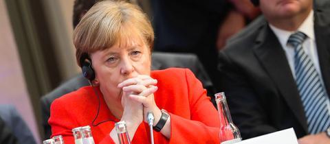 Angela Merkel bei einem Treffen im Rahmen des Petersberger Klimadialogs