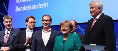 Angela Merkel mit Horst Seehofer, Alexander Dobrindt, Andreas Scheuer und Markus Söder