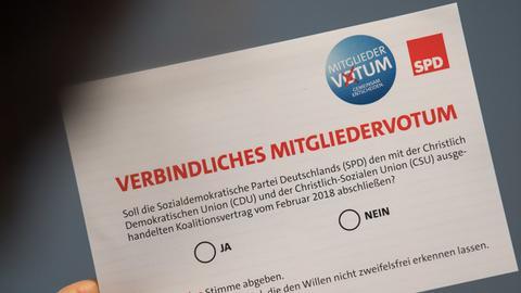Wahlkarte für das SPD-Mitgliedervotum zur Großen Koalition
