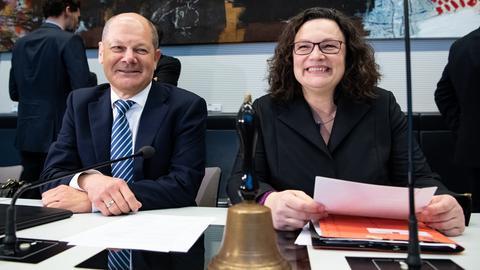 Finanzminister Olaf Scholz und SPD-Parteichefin Andrea Nahles bei der Klausurtagung der SPD-Bundestagsfraktion