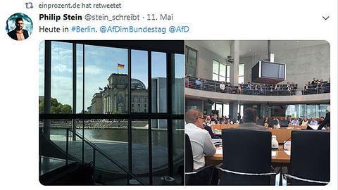 Tweet des rechten Verlegers und Aktivisten Philip Stein zur AfD-Medienkonferenz