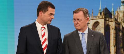 Mike Mohring (l), CDU-Spitzenkandidat und Bodo Ramelow (Die Linke), Spitzenkandidat und amtierender Ministerpräsident von Thüringen