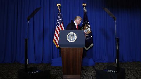 Donald Trump nach einer Pressekonferenz
