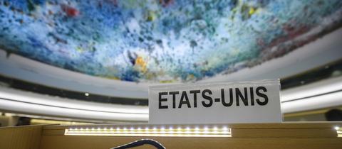 Das Namensschild des USA-Vertreters im UN-Menschenrechtsrat