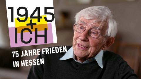 75 Jahre Kriegsende Hessen: Logo und Foto eines Zeitzeugen