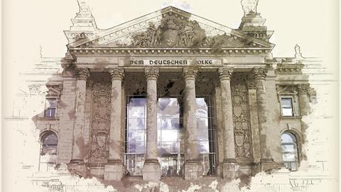 Zeichnung des Portals am Deutschen Bundestag