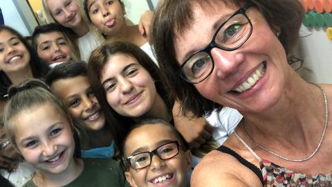 Selfie mit Schülern
