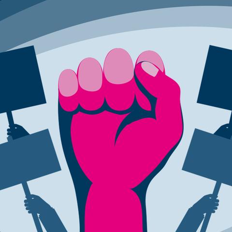 Hände und Plakate bei einer Demonstration