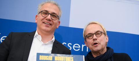 Tarek Al-Wazir und Henni Nachjtsheim bei der Pressekonferenz im Landtag
