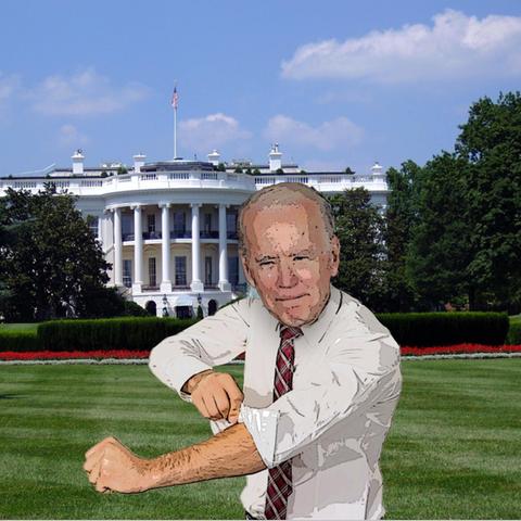 Montage: Joe Biden vor dem Weißen Haus