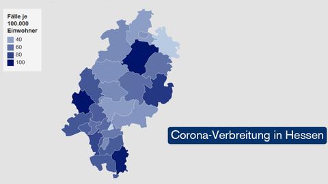 Grafik: Verbreitung der Covid-19-Fälle in Hessen