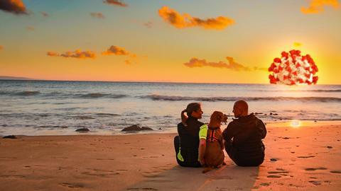 Eine Frau, ein Mann und ein Hund sitzen am Strand mit Blick aufs Meer, die Sonne ist ein Corona-Virus
