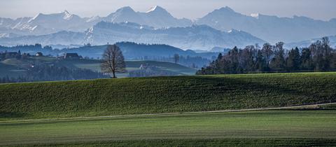 Blick von Affoltern im Emmental, in die Berner Alpen