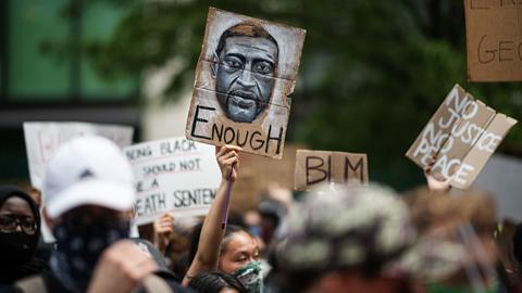 Eine Demonstration in New York nach dem Tod des Afroamerikaners George Floyd.