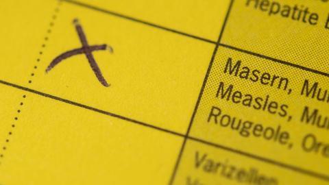 """Auf einem Impfass ist ein """"X"""" bei Masern eingetragen."""