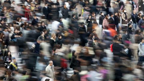 Eine Menschenmasse in Japan