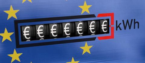Sujetbild: Ein Stromzähler zeigt viele Eurozeichen.