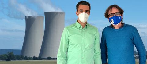 Simeon Preuß und Oliver Günther vor einem Atomkraftwerk
