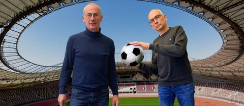 Sportjournalist Dietrich Schule Marmeling, hr-iNFO-Redakteur Jens Borchers