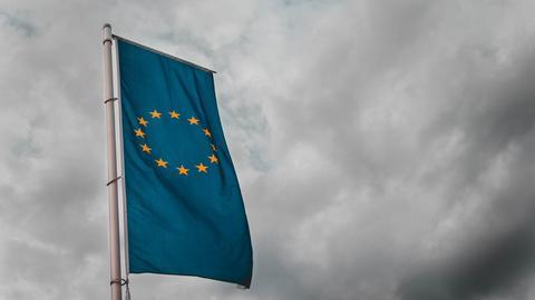 Die Flagge der Europäischen Union weht vor einem grauen Himmel in der Luft