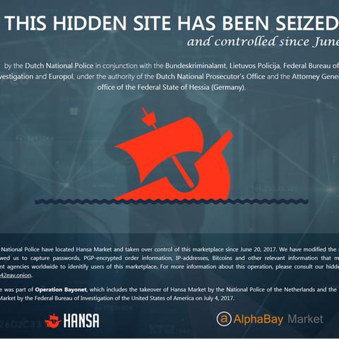 Screenshot der geschlossenen Hansa Market Plattform