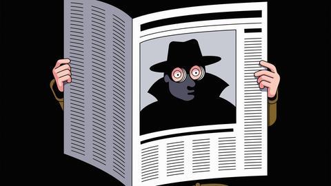Comic: Ein Spion schaut durch zwei Gucklöcher in einer Zeitung, hinter der er sich versteckt.