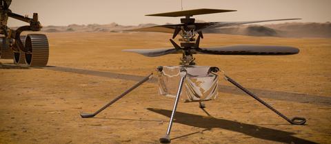 Die von der NASA zur Verfügung gestellte Illustration zeigt den Ingenuity-Hubschrauber auf der Marsoberfläche.