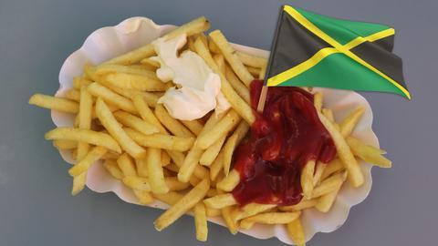 Pommes frittes mit Jamaika-Flagge