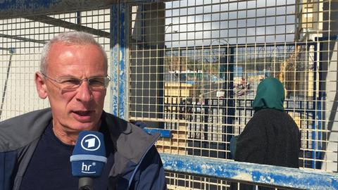 Unser Korrespondent Jens Borchers an der Grenze in Ceuta