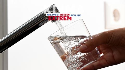 Eine Hand hält ein Wasserglas unter einen Wasserhahn