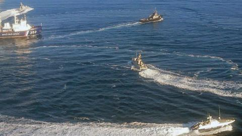 Ukrainische Marineboote an der Halbinsel Krim